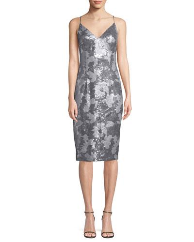 Amorie Sequin V-Neck Cocktail Sheath Dress