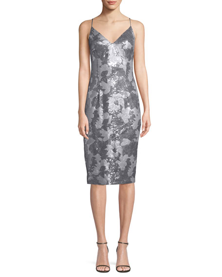 Amorie Sequin V-Neck Cocktail Sheath Dress