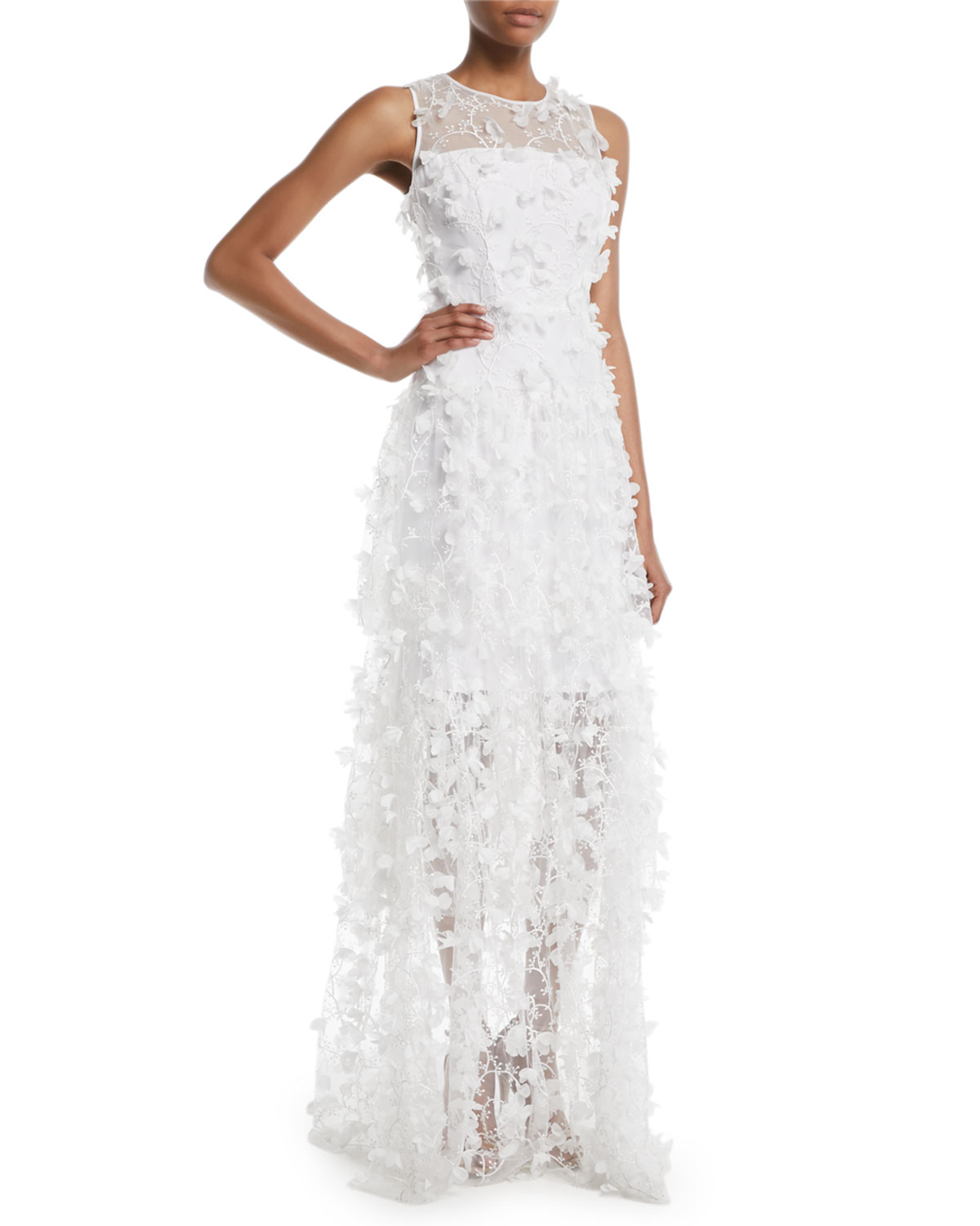 Milly Siena Sleeveless 3D Embroidered Tulle Gown | Neiman Marcus
