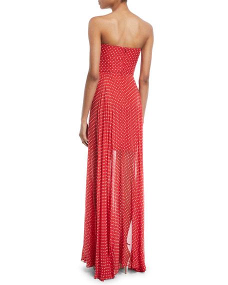 Mckenzie Twist Strapless Polka-Dot Silk Chiffon Gown