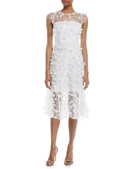 Milly Jennie Embroidered 3D Tulle Cocktail Dress