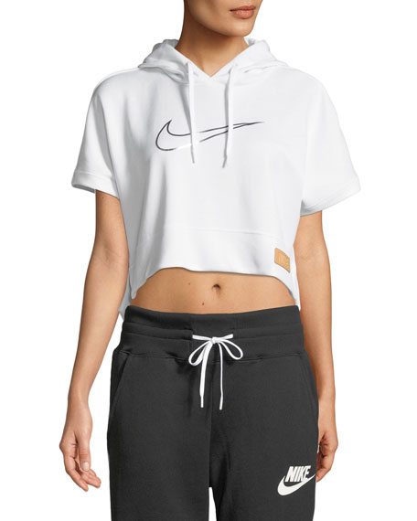 Short-Sleeve Cropped Graphic Hoodie