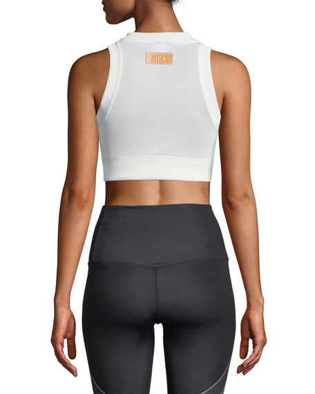 Half-Zip Graphic Mesh Crop Top
