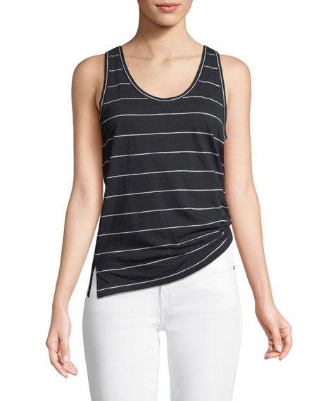 Skinny-Striped Scoop-Neck Tank