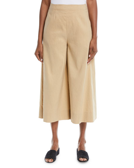 High-Waist Stretch-Linen Ankle Culotte Pants, Khaki