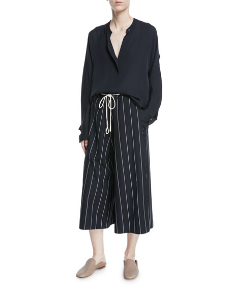 Striped Drawstring Side-Slit Culottes