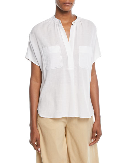 Short-Sleeve Popover Poplin Top