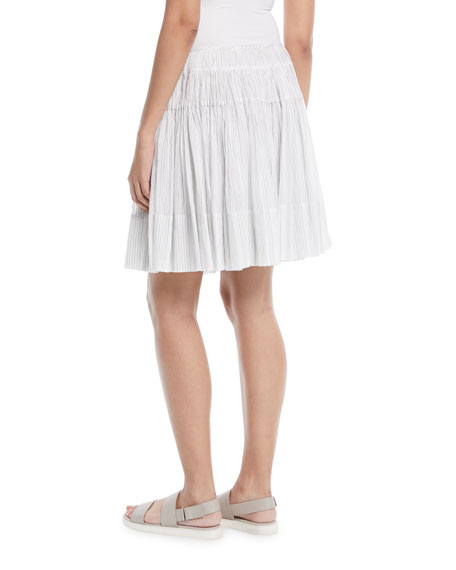 Pleated Striped Cotton Skirt