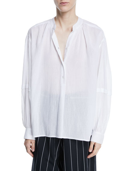 Poet Long-Sleeve Button-Front Blouse