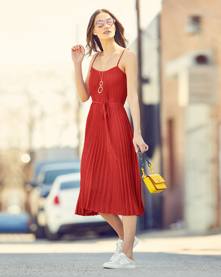 Pleated Cami Midi Dress