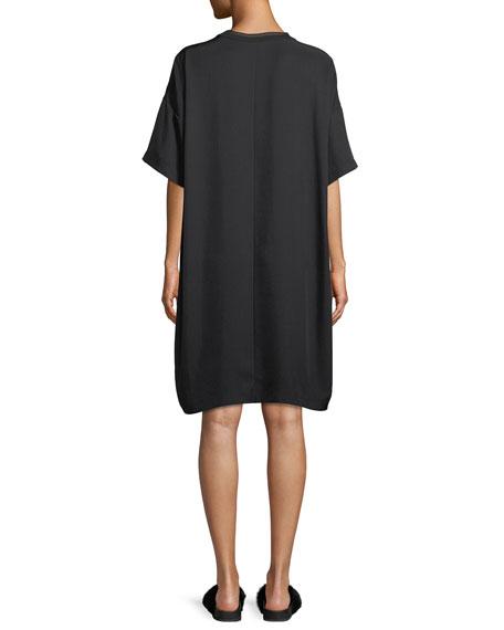 Ribbed-Trim Short-Sleeve Shift Dress