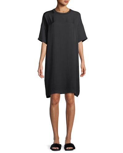 Ribbed-Trim Short-Sleeve Shift Dress
