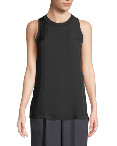 Ribbed-Trim Sleeveless Top
