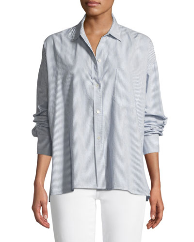 Striped Boxy Button-Down Top