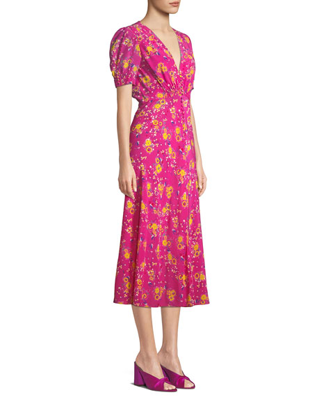 Lea Floral Button-Front Midi Dress