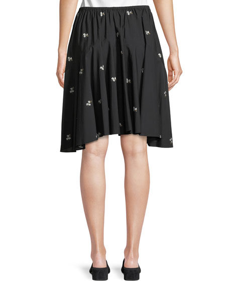 Ditsy Floral Poplin Pleated Skirt