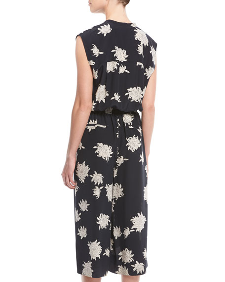 Silk Chrysanthemum Sleeveless Cropped Jumpsuit