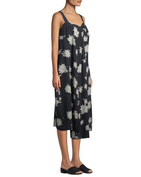 Draped Chrysanthemum Sleeveless Midi Dress