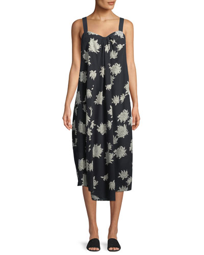 Draped Chrysanthemum Sleeveless Midi Dress
