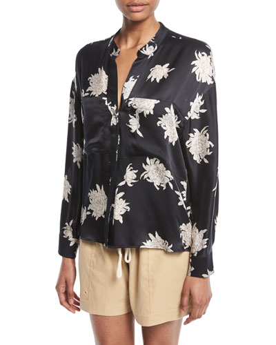 Silk Chrysanthemum Floral Long-Sleeve Pocket Blouse