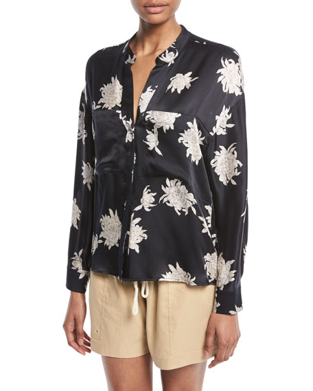 Vince Silk Chrysanthemum Floral Long-Sleeve Pocket Blouse and