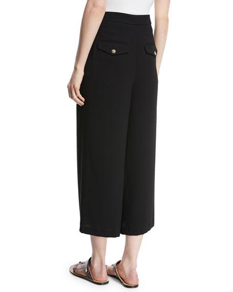 High-Waist Pleated Ankle Culotte Pants