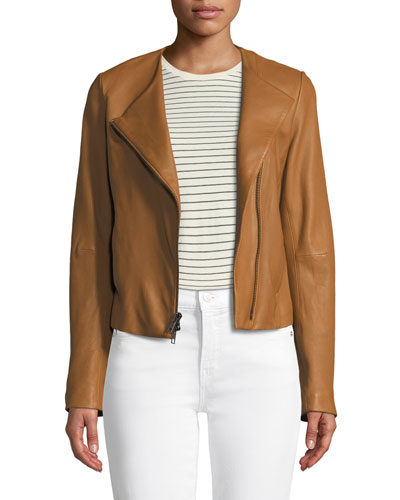 Cross-Front Leather Jacket