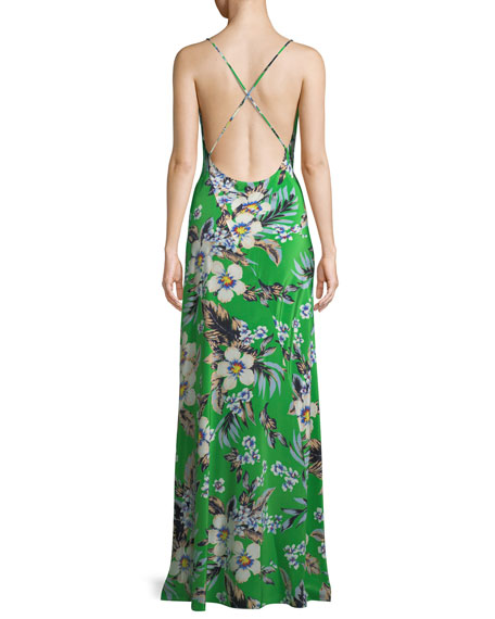 Cowl-Neck Silk Floral Bias Gown