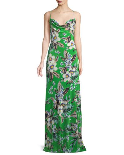Cowl-Neck Silk Floral Bias Gown