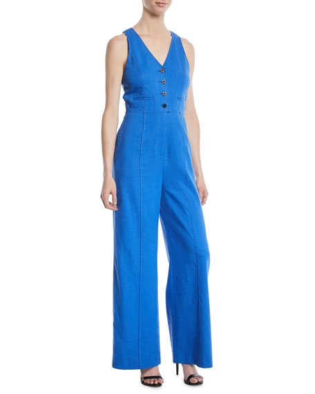 Diane von Furstenberg Fitted Button-Front Linen-Stretch Jumpsuit