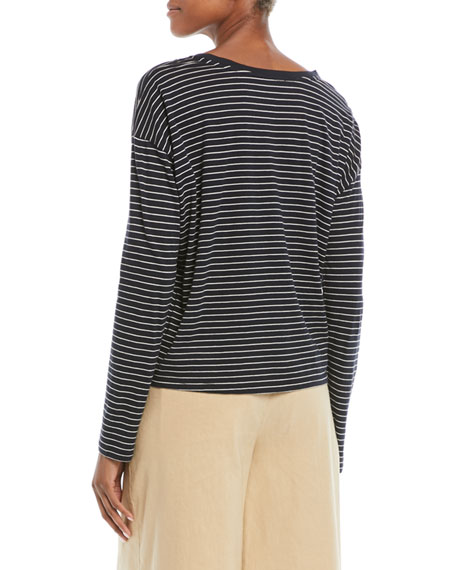 Pencil-Stripe Relaxed Long-Sleeve Top
