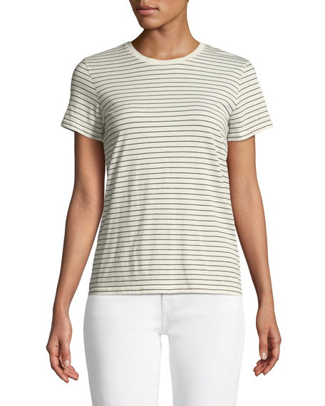 Pencil Striped Short-Sleeve Crewneck Top