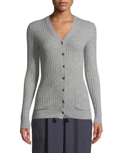 Rib Skinny Cashmere Cardigan Sweater
