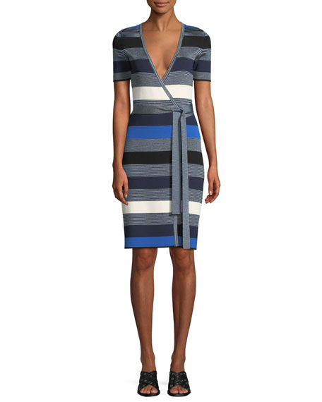 Striped Short-Sleeve Sweater Wrap Dress