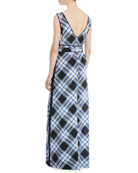 Belted Check Wide-Leg Jumpsuit