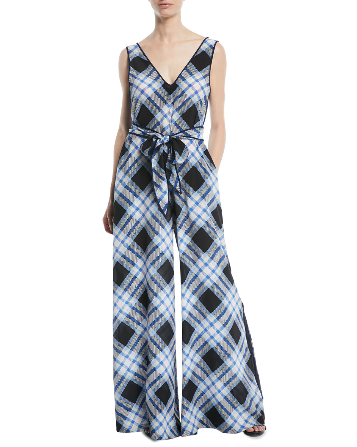 6680cd38a6d Diane von Furstenberg Belted Check Wide-Leg Jumpsuit