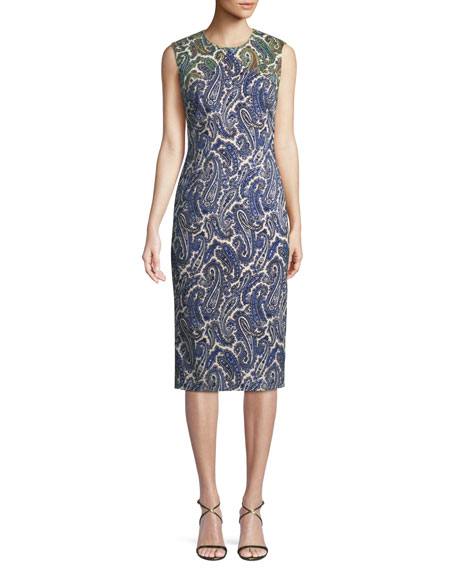Paisley-Print Sleeveless Midi Sheath Dress