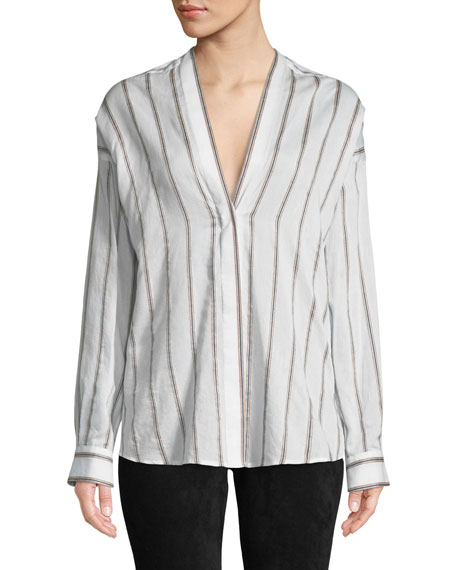 Textured Striped Long-Sleeve Blouse
