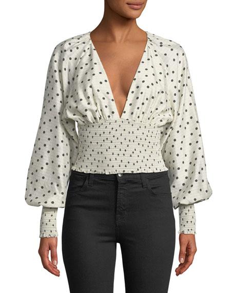 Dot-Print Smocked Silk Blouse, White/Black