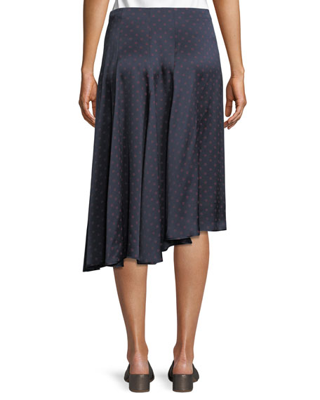 Dot-Print Foulard Asymmetric Pleated Silk Skirt