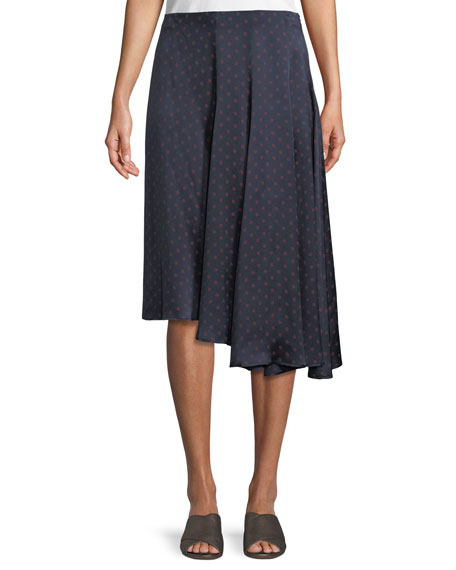 Dot-Print Foulard Asymmetric Pleated Silk Skirt