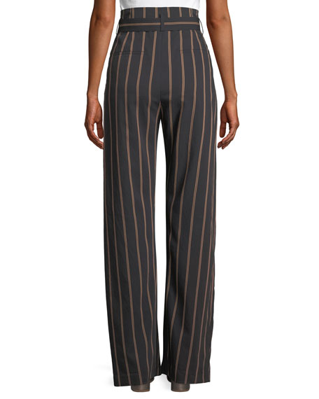 Belted Stripe Wide-Leg Pants