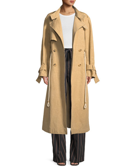 Long Linen/Cotton Drawstring Trench Coat