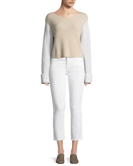 Colorblock Cashmere Pullover Top