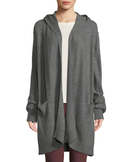 Hooded Open-Front Boiled Cashmere Cardigan