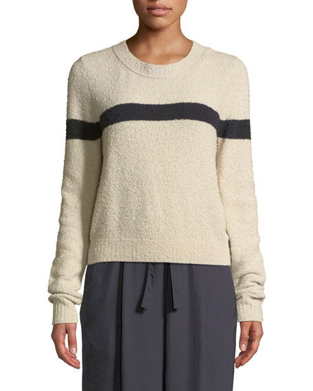 Single-Stripe Crewneck Cotton-Blend Pullover Sweater