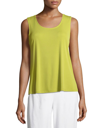 Stretch Silk Jersey Scoop-Neck Tank Top, Plus Size
