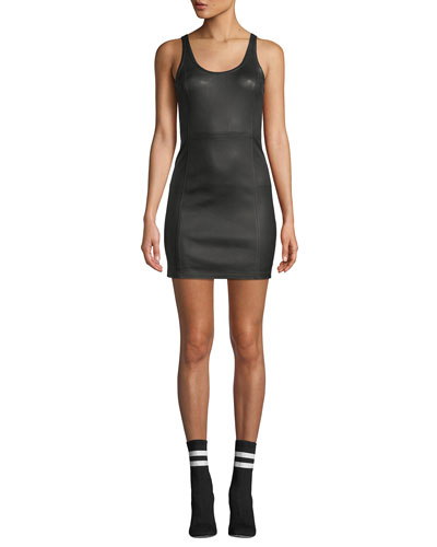 Fitted Leather Scoop-Neck Mini Dress