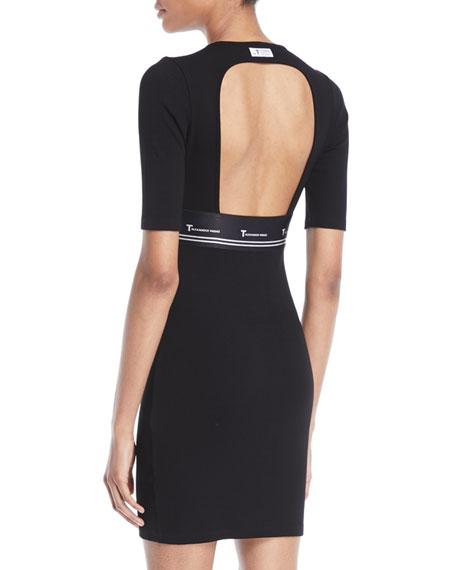 Ribbed Cutout Logo Mini Dress