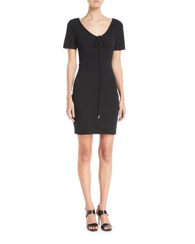 Tie-Front Short-Sleeve Mini Dress